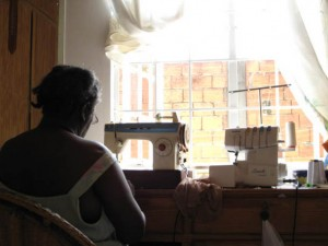 Ma Sewing on the Sewing Machine